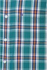 Peter England Green & Orange Checks Casual Shirt