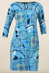 Avirate Blue Printed Boat Neck Casual Dress