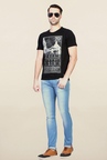 Van Heusen Black Graphic Printed T Shirt