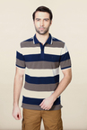 Van Heusen White & Blue Striped T Shirt