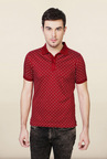 Van Heusen Red Printed Cotton T Shirt