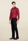 Van Heusen Black Pleated Solid Trouser