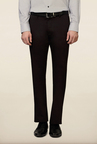 Van Heusen Dark Brown Solid Slim Fit Trouser