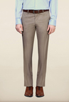 Van Heusen Brown Solid Flat Front Trouser