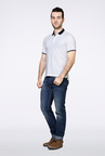 Van Heusen White Printed Polo T Shirt