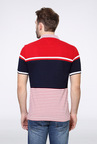 Van Heusen Red & Navy Striped Polo T Shirt