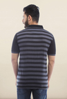 Van Heusen Grey Striped Polo T Shirt