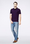 Van Heusen Purple Solid Polo T Shirt