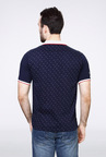 Van Heusen Navy Printed Polo T Shirt