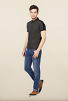 Van Heusen Black Solid Polo T Shirt