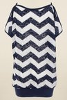 Quiz Navy & Cream Chevron Top