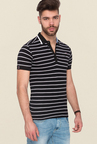 Mufti Black Striped Polo T Shirt