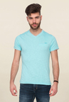 Mufti Sky Blue Solid T Shirt