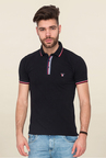Mufti Black Solid Polo T Shirt
