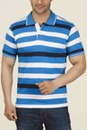 ColorPlus Blue & White Striped Polo T Shirt