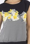 109 F Black & Yellow Printed Top
