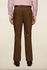 Peter England Khaki Solid Formal Trouser