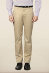 Peter England Beige Solid Formal Trouser