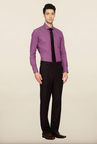 Van Heusen Brown Solid Formal Trouser
