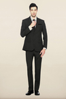 Peter England Grey Solid Formal Suits