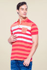 Mufti Orange Slim Fit Polo T Shirt