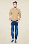 Mufti Dark Blue Heavily Washed Solid Jeans