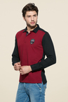 Mufti Maroon Slim Fit Polo T Shirt