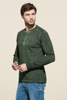 Mufti Olive Slim Fit Henley T Shirt