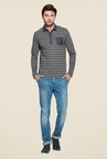 Mufti Grey Slim Fit Polo T Shirt