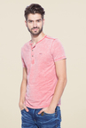 Mufti Red Slim Fit Henley T Shirt