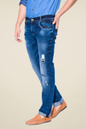 Mufti Dark Blue Distressed Jeans