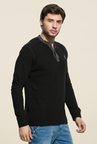 Mufti Black Slim Fit Henley T Shirt