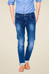 Mufti Dark Blue Heavily Washed Jeans