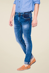 Mufti Dark Blue Heavily Washed Cotton Jeans