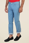 Calvin Klein Blue Lightly Washed Mid Rise Solid Jeans