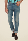 Calvin Klein Blue Slim Fit Mid Rise Solid Jeans