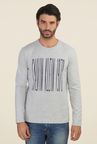 Calvin Klein Grey Printed Crew Neck Full Sleeve T Shirt