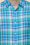 United Colors of Benetton Blue Linen Checked Shirt