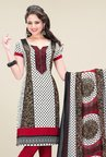 Salwar Studio Maroon & White Printed Dress Material