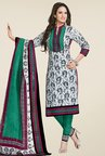 Salwar Studio White & Teal Dress Material