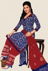 Salwar Studio Blue & Maroon Batik Dress Material