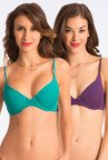 Pretty Secrets Purple & Green T Shirt Bra (Pack of 2)
