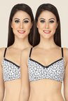 Soie White Full Coverage Double Layered Cups Bra (Pack Of 2)