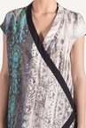 Satya Paul Grey & Turquoise Cotton Lawn Shrug
