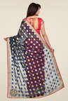 Shonaya Coral & Blue Georgette Printed Saree