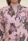 Shree Light Pink & Grey Floral Print Polyester Kurta
