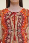 Shree Beige & Orange Printed Rayon Kurta