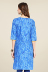 Shree Blue Cotton Printed Kurti