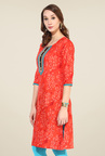 Shree Red Cotton Printed Kurti