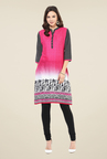 Shree Pink Cotton Tribal Printed Kurti